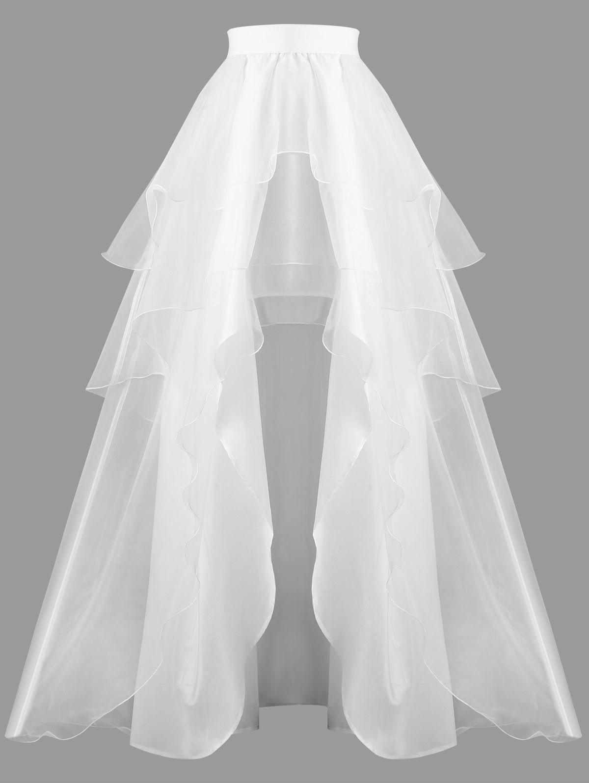 2018 High Waist Layered Ball Gown Skirt In White M | Rosegal.com