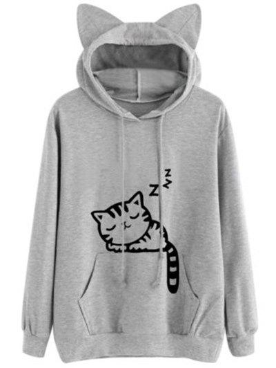 Outfit Drawstring Sleeping Cat Pattern Pullover Hoodie