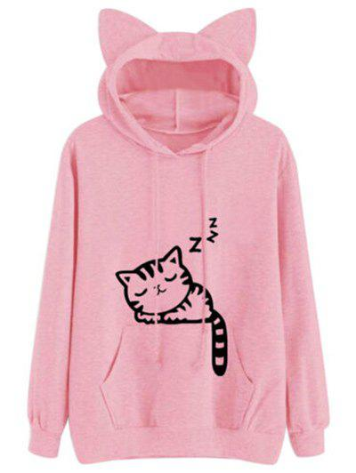 Drawstring Sleeping Cat Pattern Pullover Hoodie Розовый L
