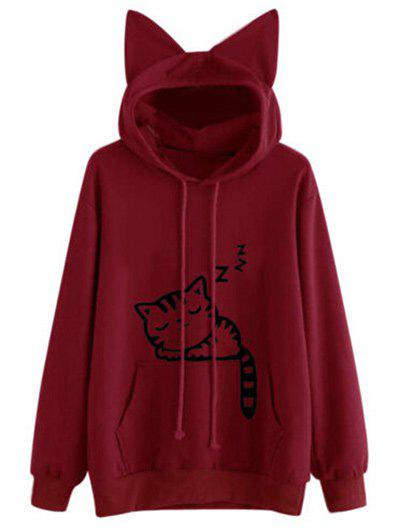 Drawstring Sleeping Cat Pattern Pullover Hoodie