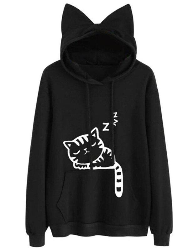Store Drawstring Sleeping Cat Pattern Pullover Hoodie