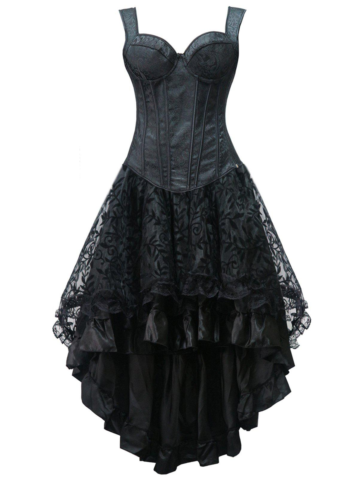 Unique High Low Lace Up Steel Boned Corset Dress