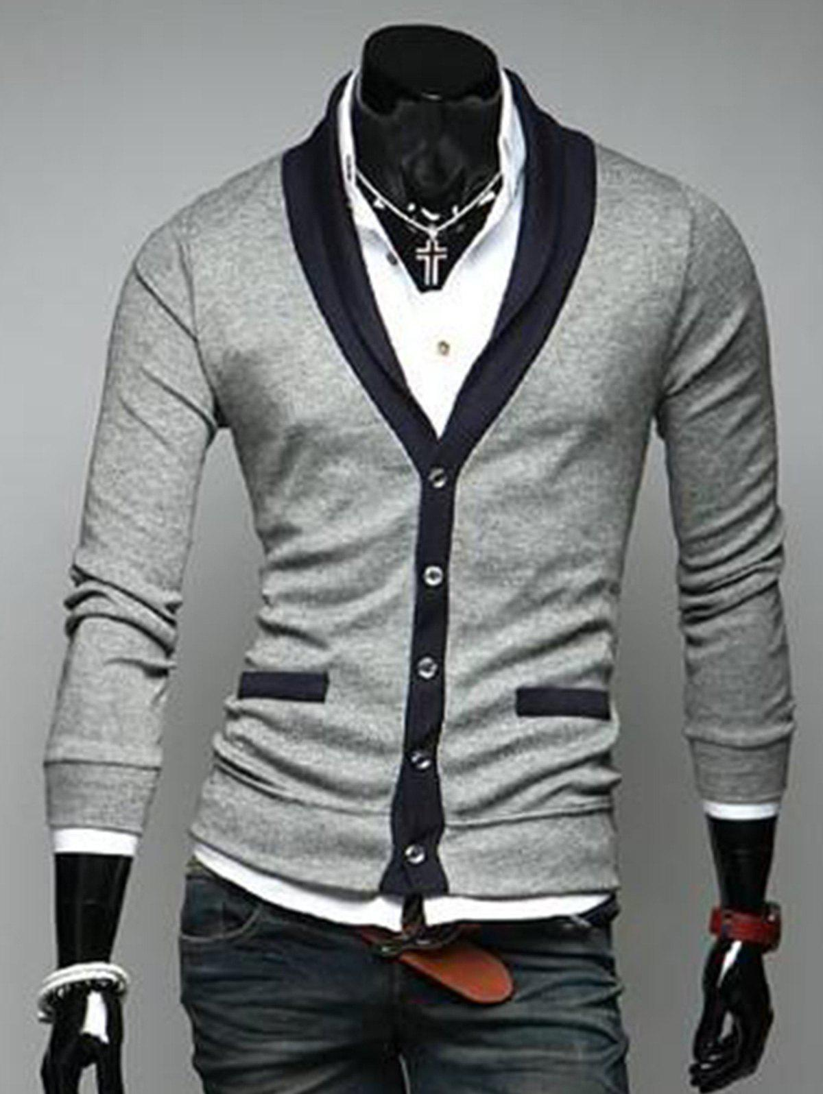 Store V Neck Button Up Color Block Cardigan