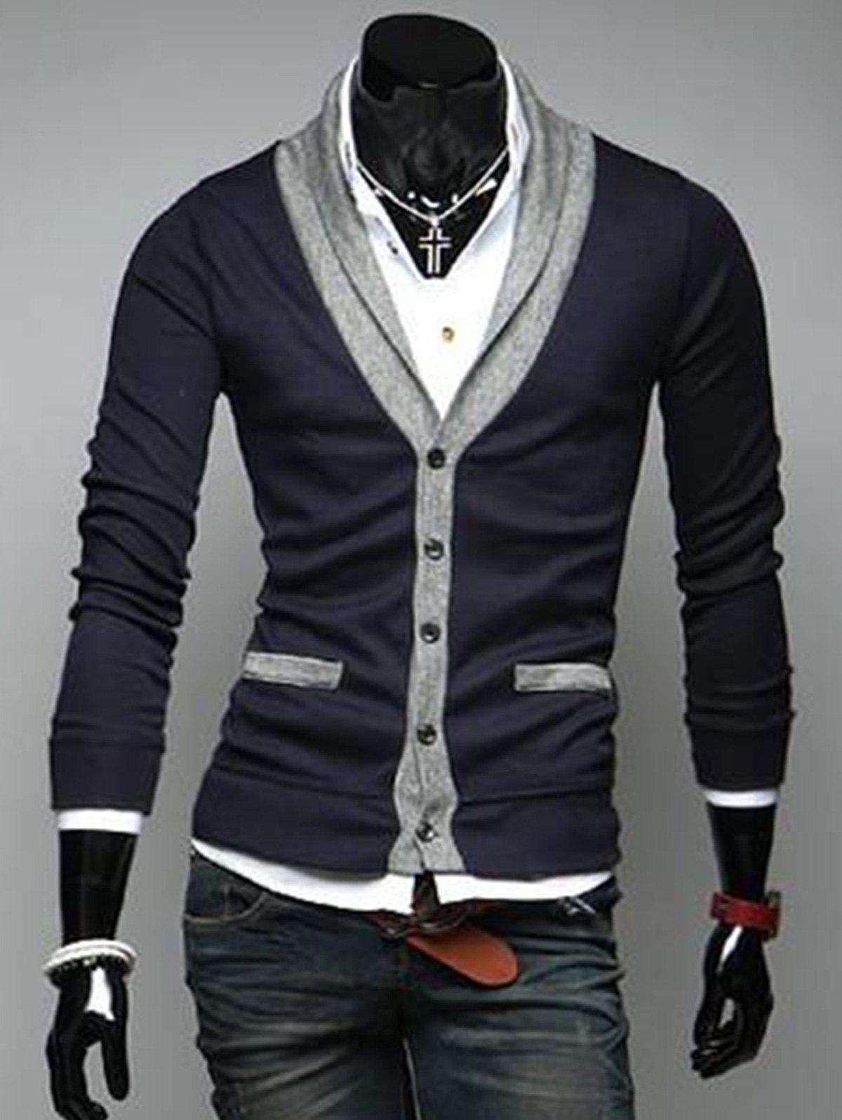 Chic V Neck Button Up Color Block Cardigan
