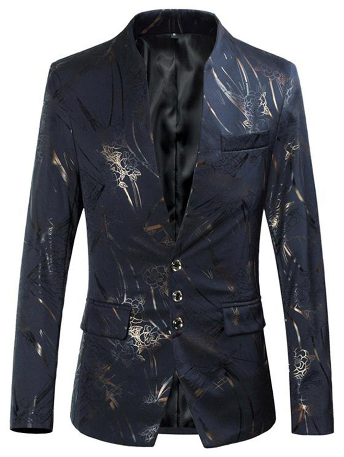 Outfit Single Breasted Golden Florals Print Blazer