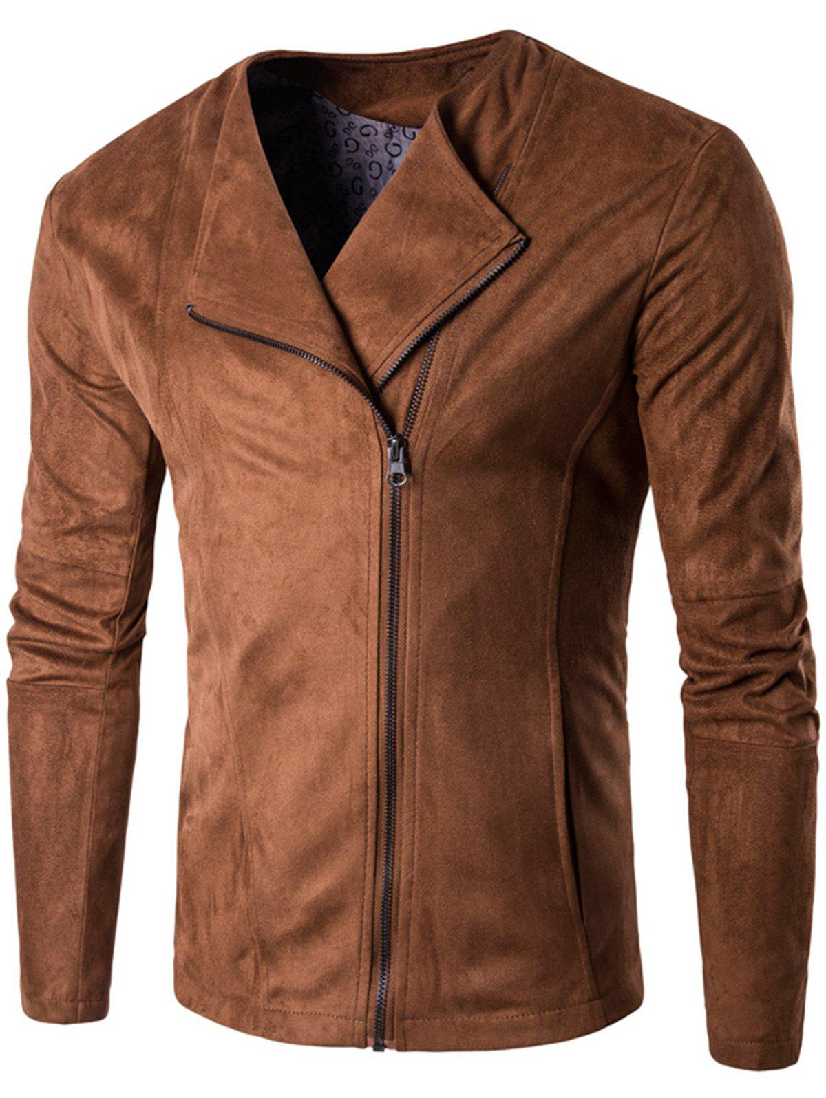 Trendy Zip Up Faux Suede Jacket