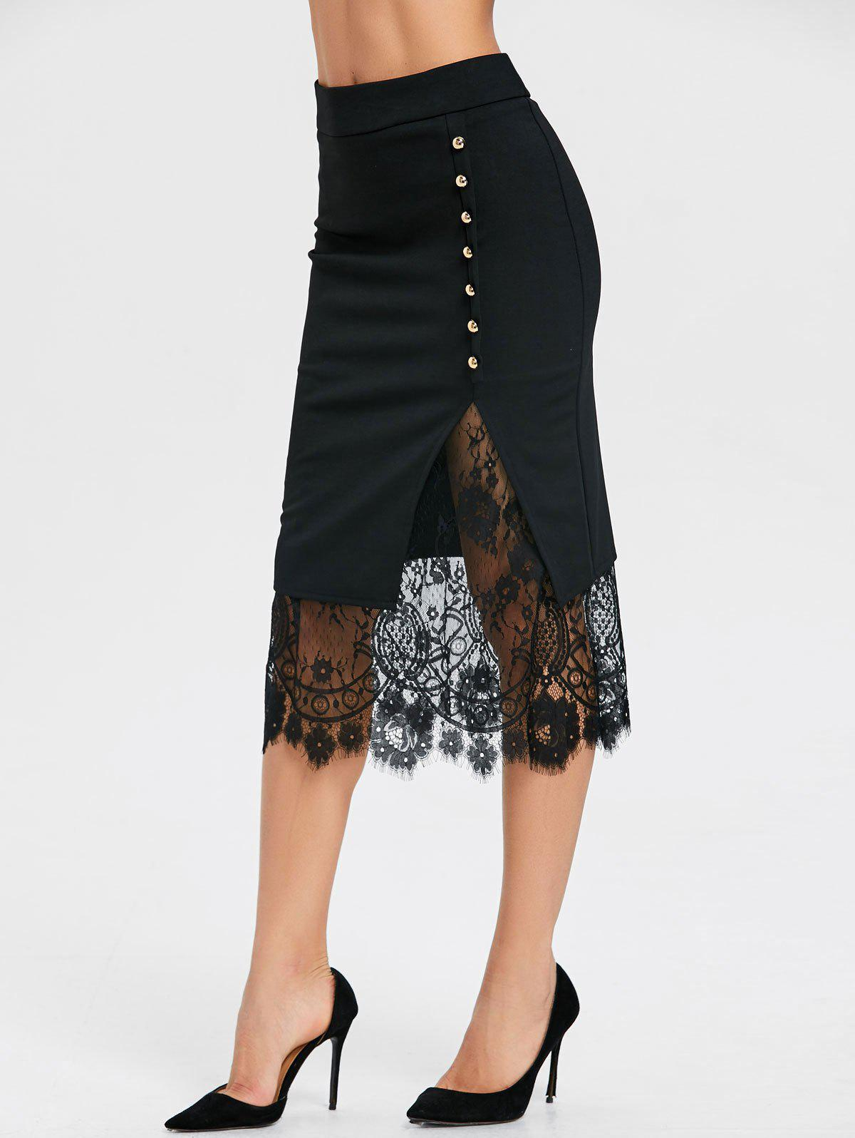 Buy Oblique Button Lace Slit Midi Skirt