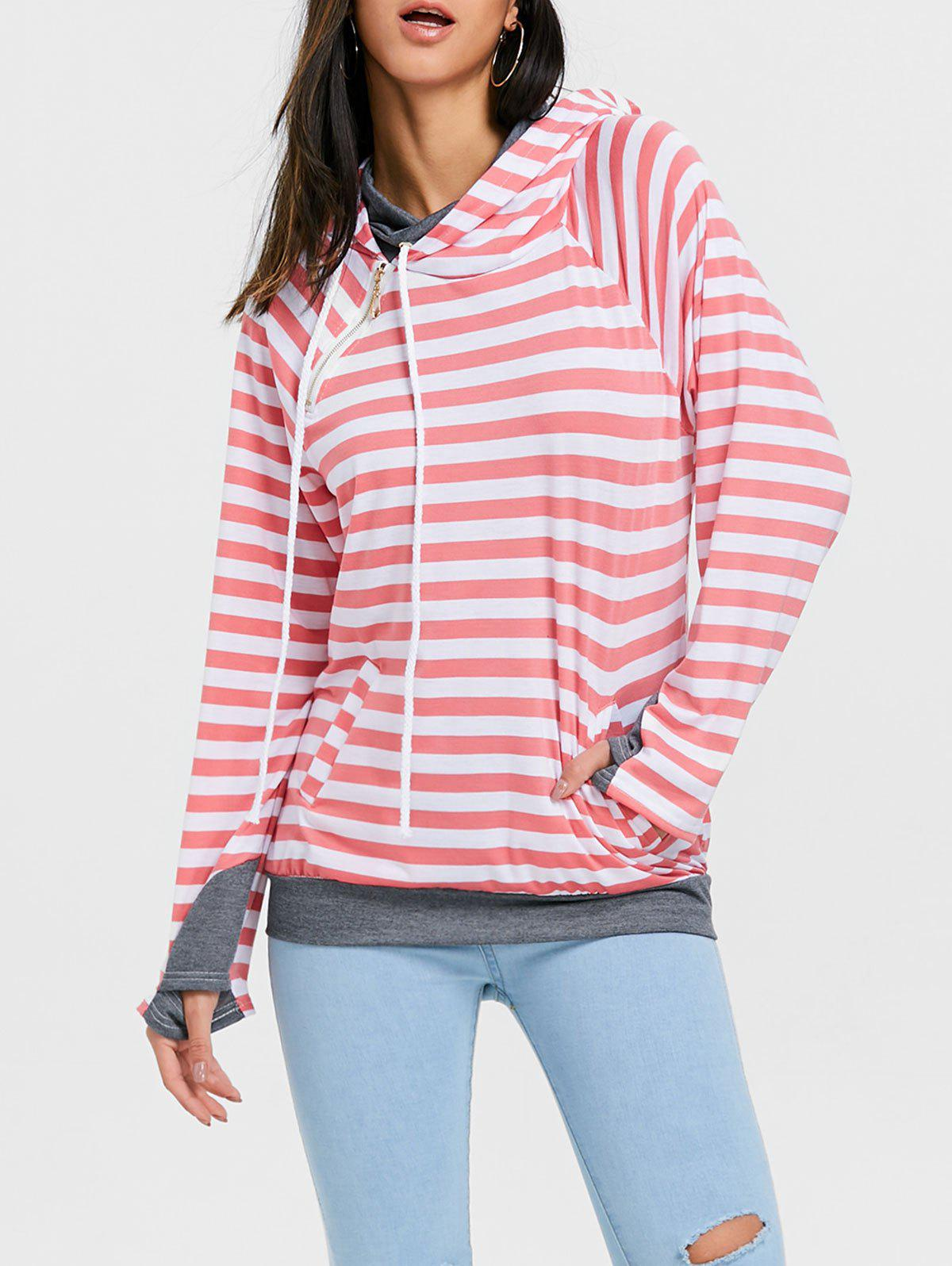 Fancy Striped Raglan Sleeve Drawstring Sports Hoodie