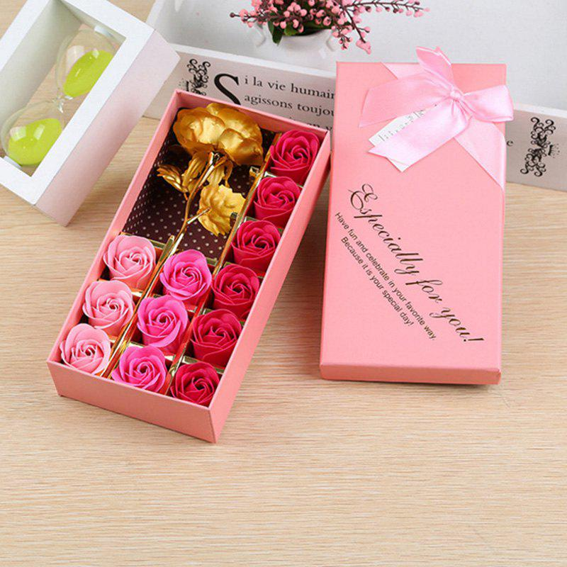 Outfit 1Pc Gold Leaf Artificial Flower and 12Pcs Soap Roses with Box