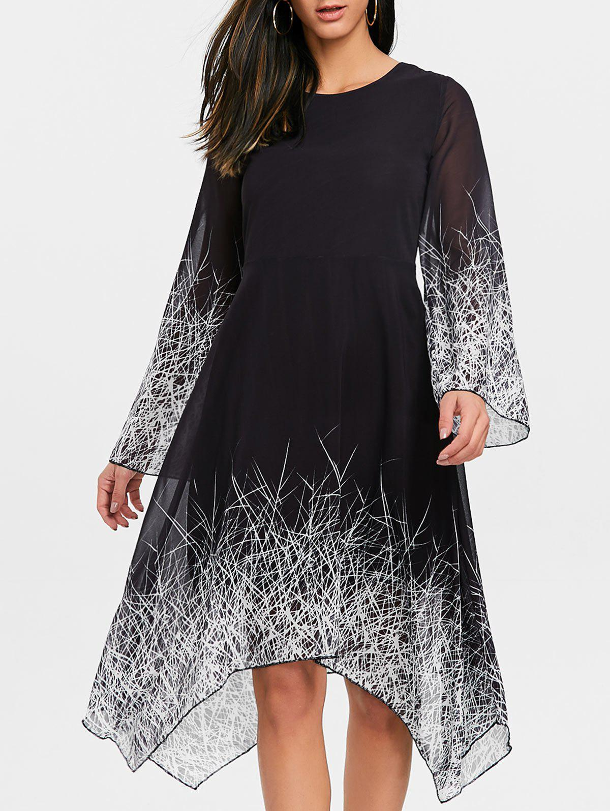 Fancy Linear Print Asymmetric Chiffon Dress
