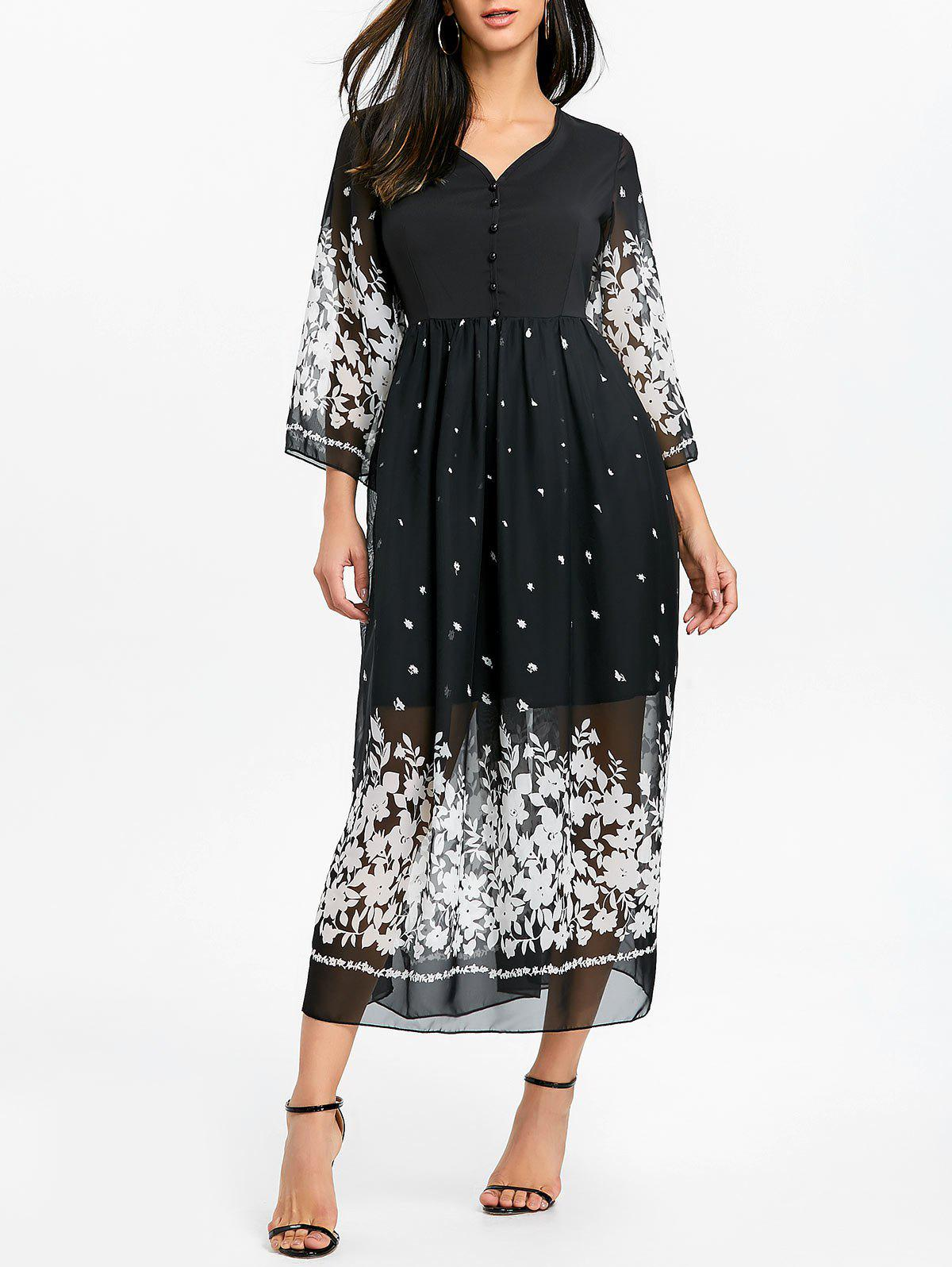 Outfit Floral Bell Sleeve Midi Chiffon Dress