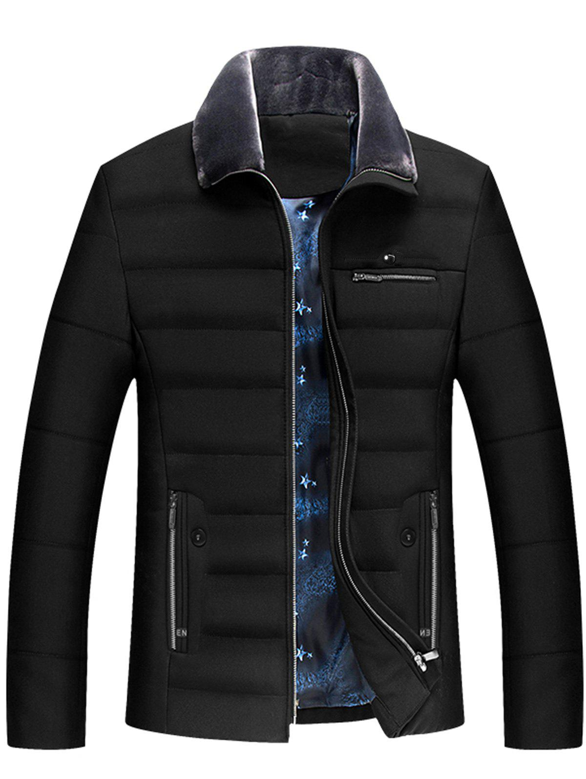 Buy Zippers Faux Fur Collar Padded Jacket