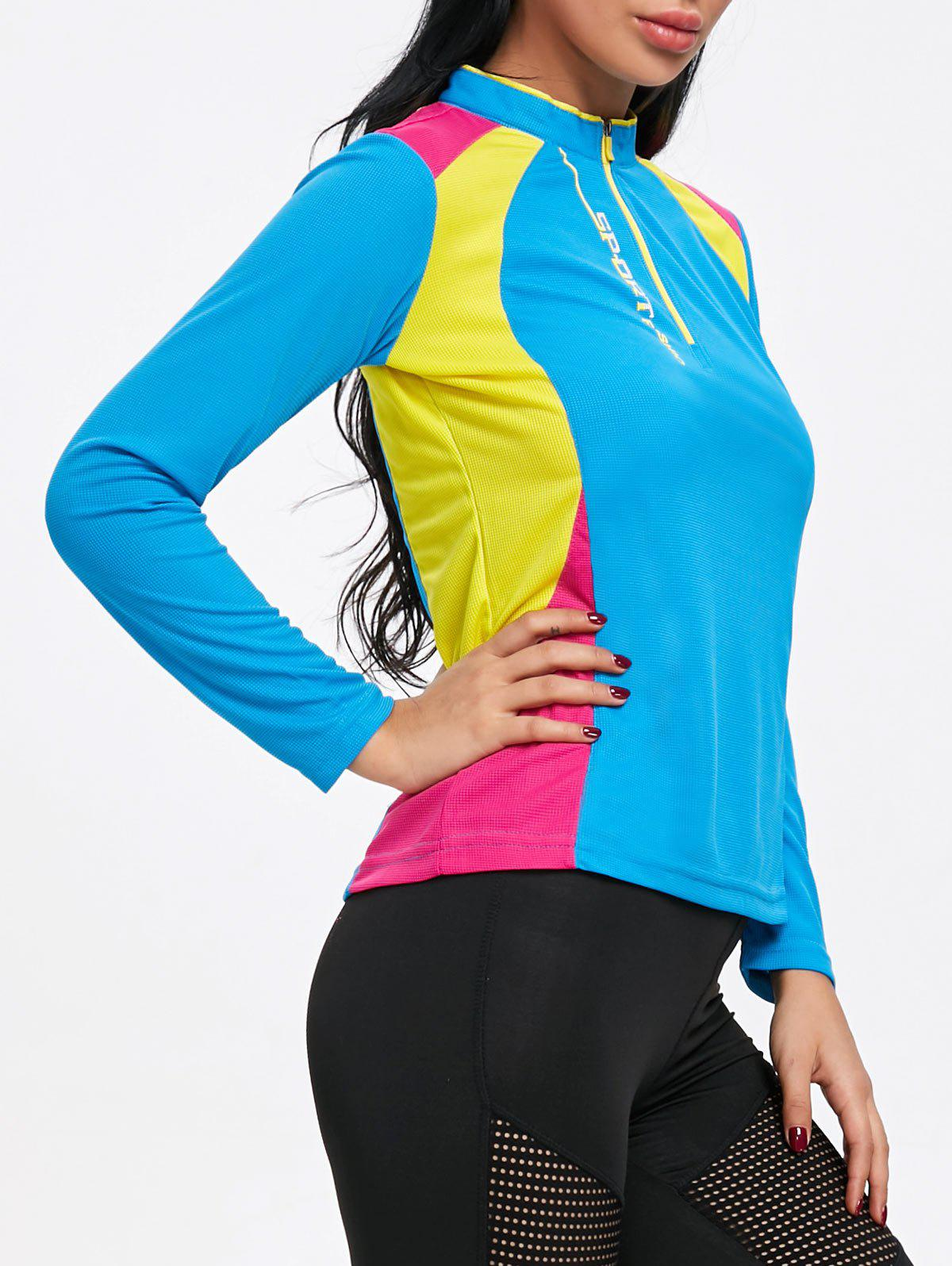 Hot Color Black Half Zip Cycling T-shirt
