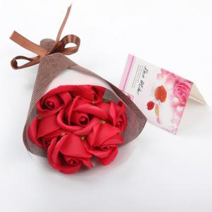 7Pcs Valentine's Present Scented Soap Roses Bouquet Gift Box -