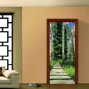 Tree Shaded Trail Door Art Stickers -