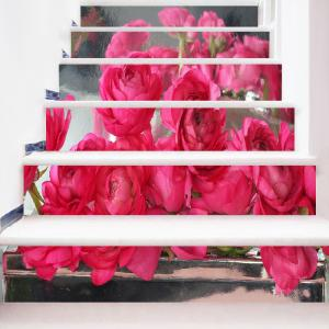 Rose Flowers Pattern DIY Decorative Stair Stickers -