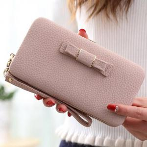PU Leather Bow Clutch Wallet -