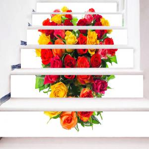 Valentine's Day Roses Heart Print DIY Stair Stickers -