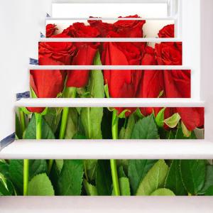 Valentine's Day Roses Print Decorative Stair Stickers -