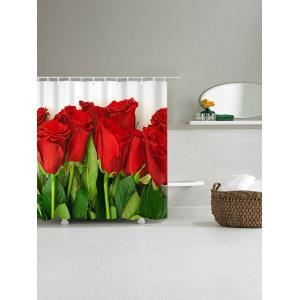 Valentine's Day Red Roses Pattern Dustproof Shower Curtain with Hooks -