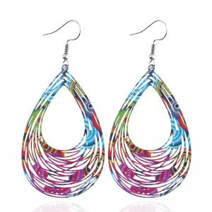 Hollow Out Water Drop Hook Earrings -