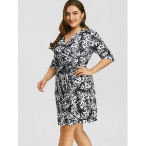 Surplice Baroque Print Plus Size Dress -