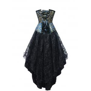 Jacquard Strapless Steel Boned Corset Dress -