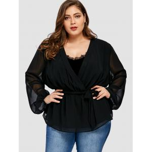 Plus Size Chiffon Insert Short Wrap Coat -