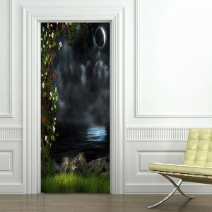 Autocollants de couvercle de porte Dark Night Lake Pattern -