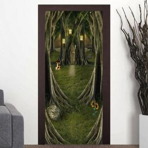 Fairytale Tree House Patterned Decorative Door Stickers -