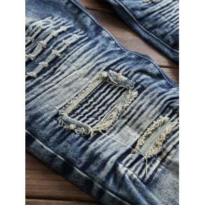 Straight Ripped Biker Jeans with Pleats -