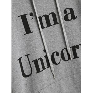 Drawstring Unicorn Letter Graphic Hoodie -