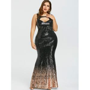 Plus Size Open Back Sparkly Mermaid Dress -