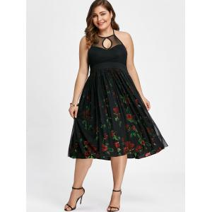 Plus Size Halter Neck Floral Swing Dress -