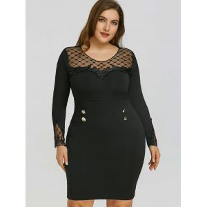 Plus Size Applique Mesh Panel Sheath Dress -