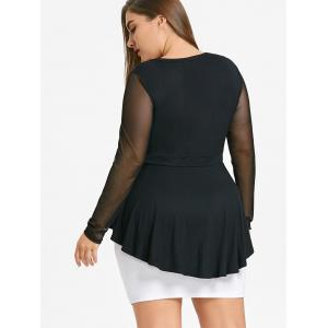 Plus Size Mesh Trim Peplum Top -