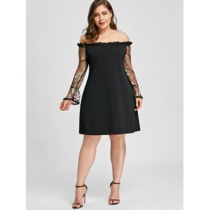 Plus Size Ruffle Embroidery Off Shoulder Dress -