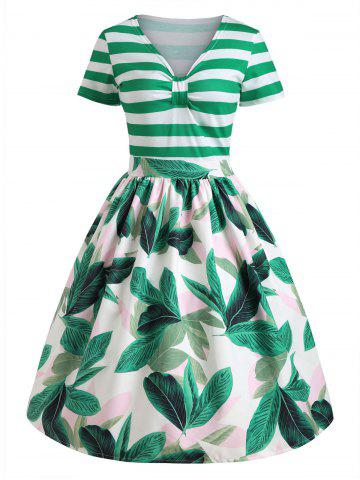 Tropical Print Striped Vintage Pin Up Dress