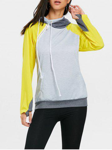 Best Drawstring Raglan Sleeve Color Block Sport Hoodie