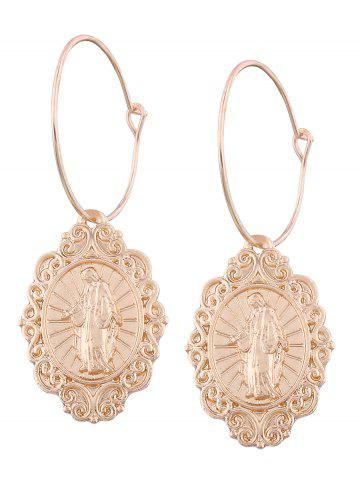 Oval Engraved Jesus Hoop Earrings