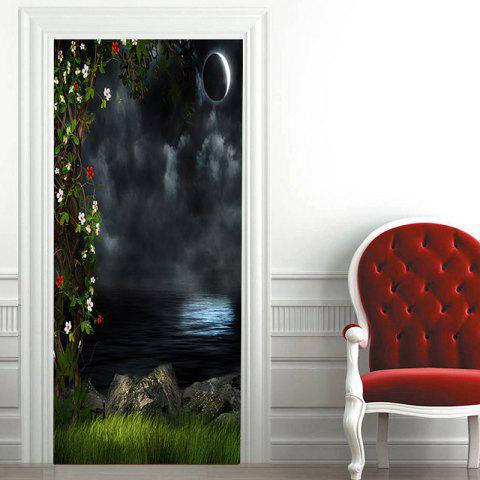 Autocollants de couvercle de porte Dark Night Lake Pattern