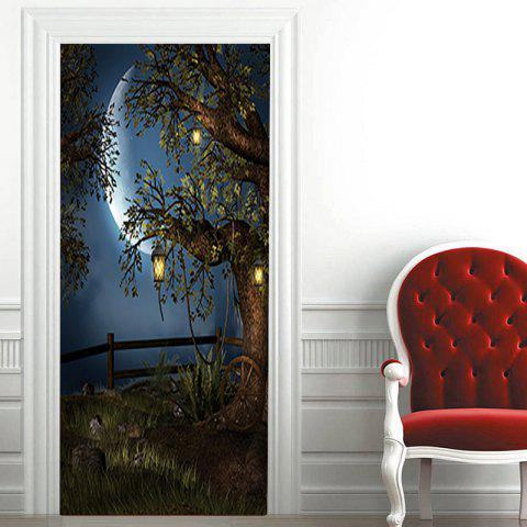 Outfits Moon Night Tree Patterned Decorative Door Stickers