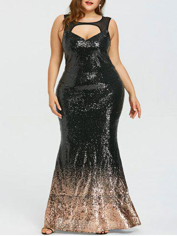 Discount Plus Size Open Back Sparkly Mermaid Dress
