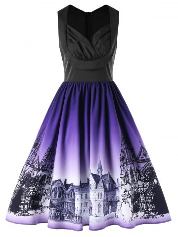 Retro Buildings Print Ombre Sleeveless Flare Dress