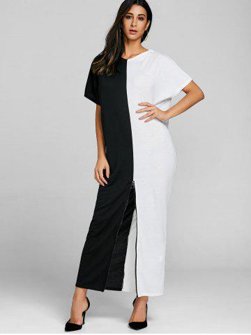 High Slit Color Block Maxi Dress