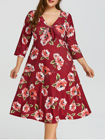 Unique Plus Size Floral V Neck Dress