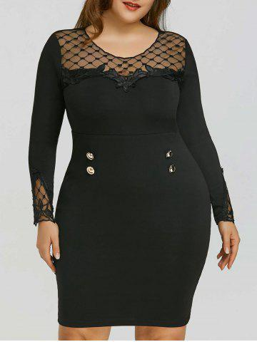 Affordable Plus Size Applique Mesh Panel Sheath Dress