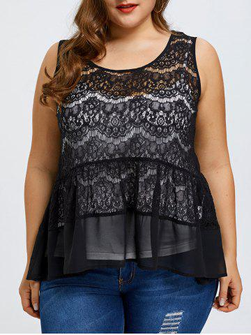 Discount Plus Size Lace Blouse with Camisole