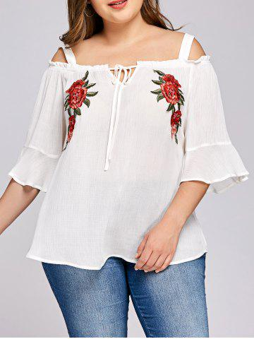 Discount Plus Size Embroidery Bell Sleeve Blouse