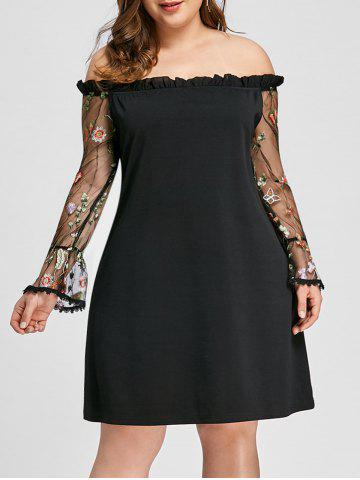 Cheap Plus Size Ruffle Embroidery Off Shoulder Dress